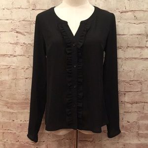 Candie's Black V-Neck Ruffle Blouse Button Up NEW